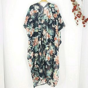 NEW Tropical Floral Sheer Kimono Cover Up